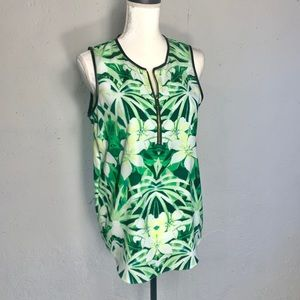 Vince Camuto Green Floral Sleeveless Top Sz. S